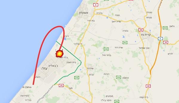 El proyectil lanzado desde Gaza no llegó a Israel se estrelló en Gaza
