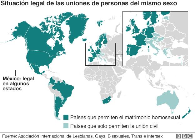 El mapa que muestra de los 23 países que han legalizado el matrimonio gay en el mundo