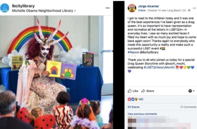 Permiten que drag queen vestida de demonio cuente historias a niños