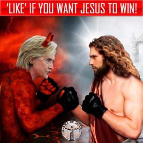 Anuncio ruso en Facebook mostró a Hillary Clinton como Satanás luchando contra Jesús