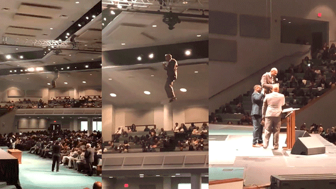 """Pastor """"vuela"""" mientras predica sobre el rapto y se vuelve viral"""